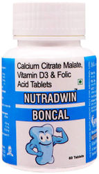 Nutradwin Boncal with Calcium Citrate Vitamin D3 and Zinc Ideal Supplement for Bone Health Joint Support of Men Women - 60 Tablets