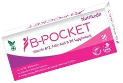 NutriLeon B-Pocket Vitamin B12 Folic Acid B6 for deficiency 30 tablet