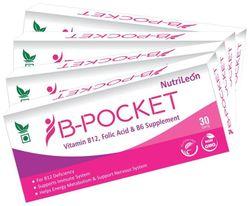 NutriLeon B-Pocket Vitamin B12 Folic Acid B6 for deficiency 30 tablet each Pack of 4