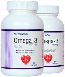 NutriLeon Omega 3 Fish Oil 1000mg 60 capsules (Pack of 2)