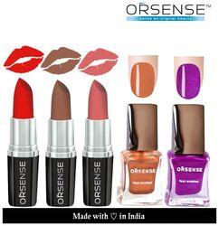 ORSENSE Latest Collections New Lipstick 3pcs And Nail Polish 2pcs Combo