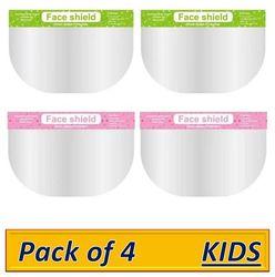 Pockester KIDS Face Shield Mask Full Face Protection Safety Visor - Pink-Green (Pack of 4)