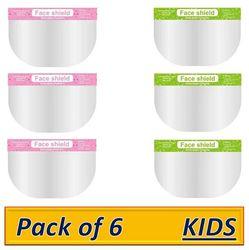 Pockester KIDS Face Shield Mask Full Face Protection Safety Visor - Pink-Green (Pack of 6)