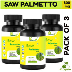 Puraberry High Strength Saw Palmetto 60 Vegetarian Capsules For Men And Women - Pack Of 3