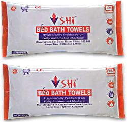 SHI BED BATH TOWEL LARGE SIZE 10 WIPES Pack of 2