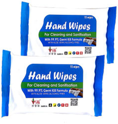 SHI Hand Wipes Wet Wipes with Aloe Vera for Cleaning and Sanitization Pack of 2 (15 Wipes x 1 Pack)
