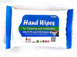 SHI Hand Wipes Wet Wipes with Aloe Vera for Cleaning and Sanitization Pack of 1 (15 Wipes)