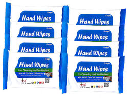SHI Hand Wipes Wet Wipes with Aloe Vera for Cleaning and Sanitization Pack of 8 (15 Wipes x 1 Pack)