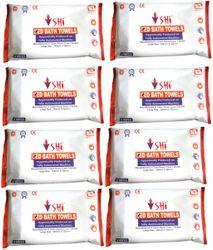 SHI Hygiene Bed Bath Towel Wet Wipes For Face Men Women Cleansing Refreshing Sponge Bath Pack of 8