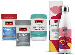 Swisse Immunity Combo -Mens Multivitamin-60 Tablets Womens Multivitamin--60 Tablets Odrls Wild Fish Oil -200 Capsules (Pack of 3)With Free Sipper Bottle
