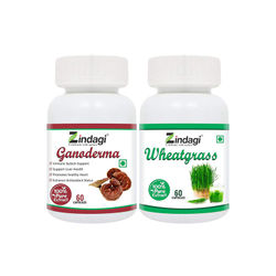 Zindagi Pure Wheatgrass Extract Capsules With Zindagi Ganoderma Pure Extract Capsule Natural 100 Pure Capsules 60 Capsules Each (Pack Of 2)