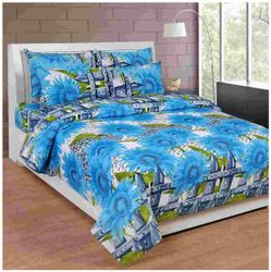 Akin Cotton Floral Double Size Bedsheet ( 1 Bedsheet With 2 Pillow Covers Blue )