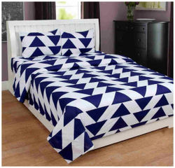 Akin Cotton Geometric Double Size Bedsheet ( 1 Bedsheet With 2 Pillow Covers Brown White )