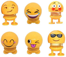 Emoji Smiley Spring Doll Cute Emoji Bobble Head Dolls Car Ornaments Bounce Toys Emoticon Figure Funny Smiley Face Springs Car Decoration for Dashboard (Assorted Pack of 6)