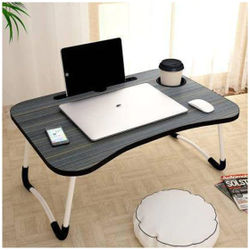 Foldable Laptop Table with Cup Holder Charging Cable IPad Tablet Slot Table