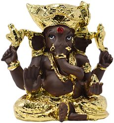 Gallery99 Gold Plated Ganesha Idol In Brown Product Dimensions 2 75 x2 5