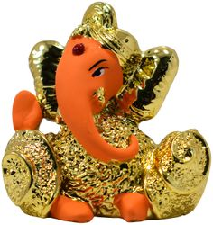 Gallery99 Gold Plated Ganesha Idol In Orange Product Dimensions 2 5 x2 25