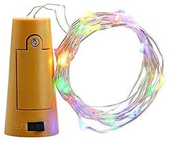 GLOWTRONIX Wine Bottle Cork Copper Wire String Lights 2M 7 2FT Battery Operated (Multi)
