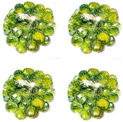 Green Plant Indoor Aquarium Glass Pebbles (250 Gms) Polished Round Stone Pebbles Set Of 4