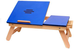 Ibs Blue Matte Finish With Drawer 583 Solid Wood Portable Laptop Table (Finish Color - Blue)