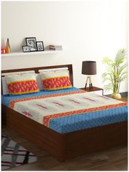 ISPACE Cotton Motifs Double Size Bedsheet 104 TC ( 1 Bedsheet With 2 Pillow Covers Blue )