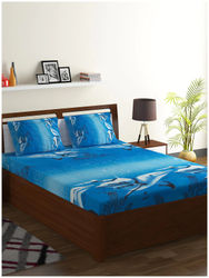 ISPACE Microfiber Abstract Single Size Bedsheet 144 TC ( 1 Bedsheet Without Pillow Covers Blue )