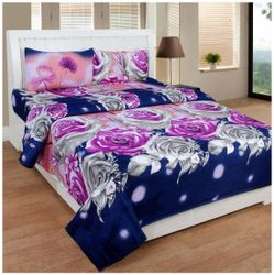 JBG Home Store Microfiber Floral Double Size Bedsheet 110 TC ( 1 Bedsheet With 2 Pillow Covers Multi )