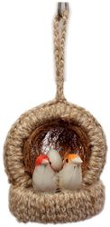 Jinagam Hanging Bird Decorative Jute Nest Artificial Birds for Home Decoration Showpiece-2 Birds With 1 Egg