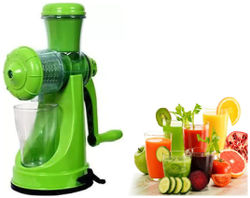 Manual Hand Juicer Fruit Vegetable Juicer with Plastic Glass (Set of 1) Multi Color