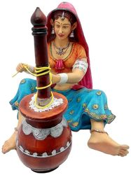 Multicolour Rajasthani Handicrafts Showpiece Cultural Decorative Home Decor Table Decoration Idol - Marriage wedding Anniversary Engagement Valentine Gift Items (H-38 cm)