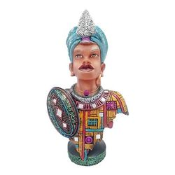 Multicolour Tribal Nigro Handicrafts Showpiece Traditional Love Couple Decorative Home Interior Decor Table Decoration Idol - Marriage wedding Anniversary Gift Items (H-38 cm)