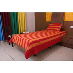 NewLadiesZone Cotton Striped Single Size Bedsheet ( 1 Bedsheet With 1 Pillow Covers Red )