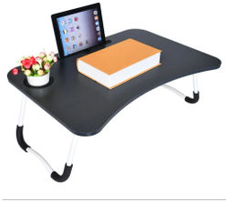 Noymi Multipurpose Foldable Laptop Table with Cup Holder Drawer Study Table Bed Table Breakfast Table Foldable and Portable Ergonomic Rounded Edges Non-Slip Legs