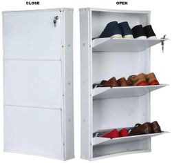 Paffytm Powder Coated 3 Door Steel Shoe Rack - White