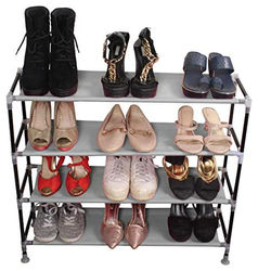 PrettyKrafts Multipurpose Portable Folding Shoes Rack 4 Tiers Multi-Purpose Shoe Storage Organizer Cabinet Tower with Iron and Nonwoven Fabric Grey