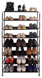 PrettyKrafts Multipurpose Portable Folding Shoes Rack 8 Tiers Multi-Purpose Shoe Storage Organizer Cabinet Tower with Iron and Nonwoven Fabric Black