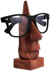 Satya Vipal Hand Crafted Wooden Face Shaped Spectacle Specs Eyeglass Holder Home Decor Showpiece Table Decor (6 inch Brown)