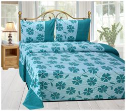 Shree Jee Cotton Floral Double Size Bedsheet 104 TC ( 1 Bedsheet With 2 Pillow Covers Multi )