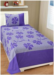 Shree Jee Cotton Floral Single Size Bedsheet 104 TC ( 1 Bedsheet With 1 Pillow Covers Multi )