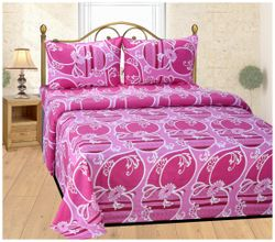 Shree Jee Cotton Floral King Size Bedsheet 104 TC ( 1 Bedsheet With 2 Pillow Covers Multi )