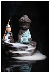 Smoke Backflow Monk Buddha With Scented Backflow Incense Cone - Decorative Showpiece - Polyresin Incense Holder