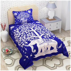 Kohinoor Cotton Printed Single Size Bedsheet 120 TC ( 1 Bedsheet With 1 Pillow Covers Blue )