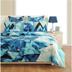 Swayam Cotton Geometric King Size Bedsheet 144 TC ( 1 Bedsheet With 2 Pillow Covers Blue )