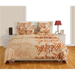Swayam Cotton Geometric Double Size Bedsheet 160 TC ( 1 Bedsheet With 2 Pillow Covers Cream )
