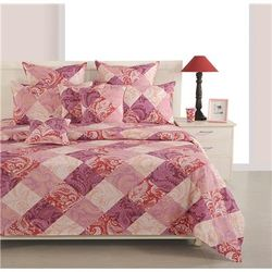 Swayam Cotton Geometric Double Size Bedsheet 250 TC ( 1 Bedsheet With 2 Pillow Covers Magenta )