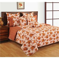 Swayam Cotton Geometric Single Size Bedsheet 144 TC ( 1 Bedsheet With 1 Pillow Covers Red )