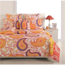 Swayam Cotton Geometric Double Size Bedsheet 200 TC ( 1 Bedsheet With 2 Pillow Covers Yellow )
