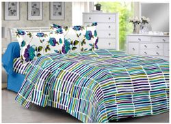 Valtellina Cotton Striped Double Size Bedsheet 104 TC ( 1 Bedsheet With 2 Pillow Covers Blue )