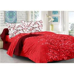 Valtellina Cotton Floral Double Size Bedsheet 104 TC ( 1 Bedsheet With 2 Pillow Covers Brown )