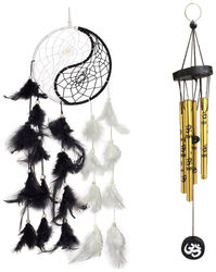 Vyne Feng Shui Combo of Yin Yang Dream Catcher and Om Printed Golden 5 Pipe Wind Chime